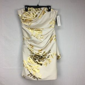 Maggy London Tan Metallic Floral Print Dress